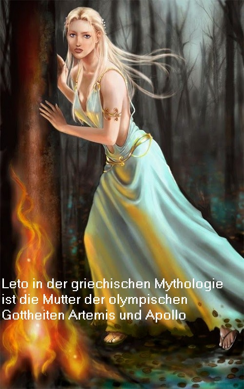Leto (Mythologie): Tochter von Koios und Phoibe, von Zeus geschwängert und dadurch Mutter der olympischen Götter Artemis und Apollo Leto10
