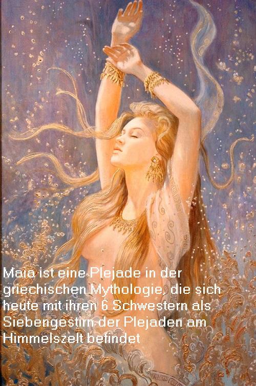 Maia: Halbgöttin (Nymphe), die sich heute mit ihren sechs Schwestern als Plejade am Himmelszelt befindet und von Orion gejagt wird Maia10
