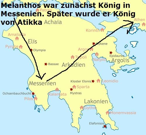 Melanthos (Mythologie): Zunächst König von Messenien, danach von Attika Melant10