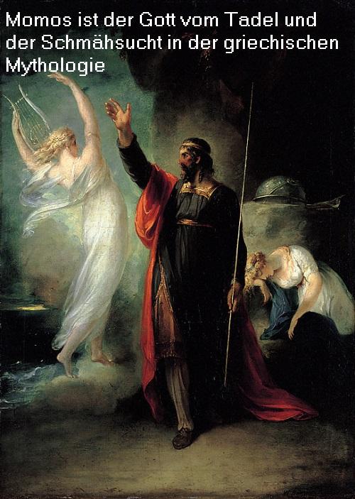 Momos (Mythologie): Gott der Schmähung und vom Tadel, übt scharfzüngige Kritik Momos10