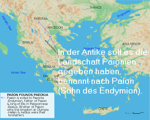 Paion (Mythologie): Sohn des Endymion, Namensgeber der Landschaft Paionien Paion-10