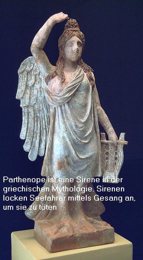 Sirene Parthenope (Mythologie): Sirenen locken mittels Gesang Seefahrer an, um sie zu töten Parthe10