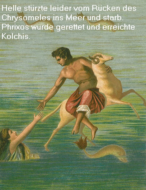 Phrixos (Mythologie): Sollte geopfert werden, wurde jedoch vom Widder Chrysomeles gerettet Phrixo10
