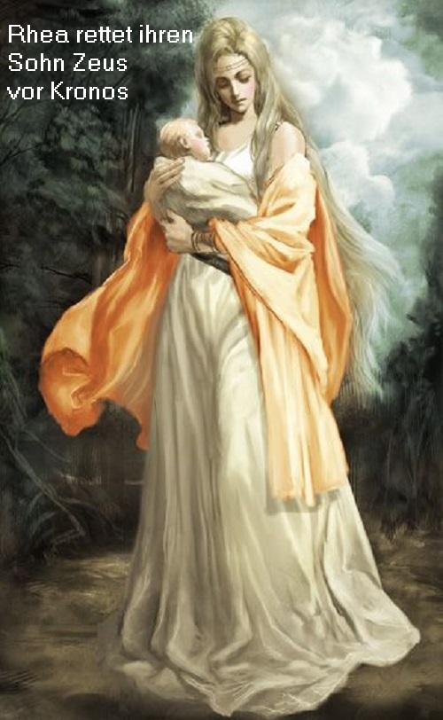 Titanin Rhea ist Tochter von Gaia und Uranos, Schwester und Gattin von Kronos und Mutter des Zeus Rhea10