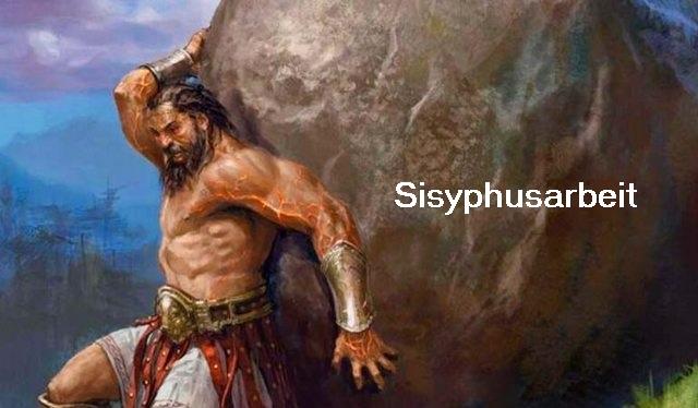 Sisyphus (auch Sisyphos) leistet auf ewig eine Sisyphusarbeit im Tartaros (Hölle) Sisyph10