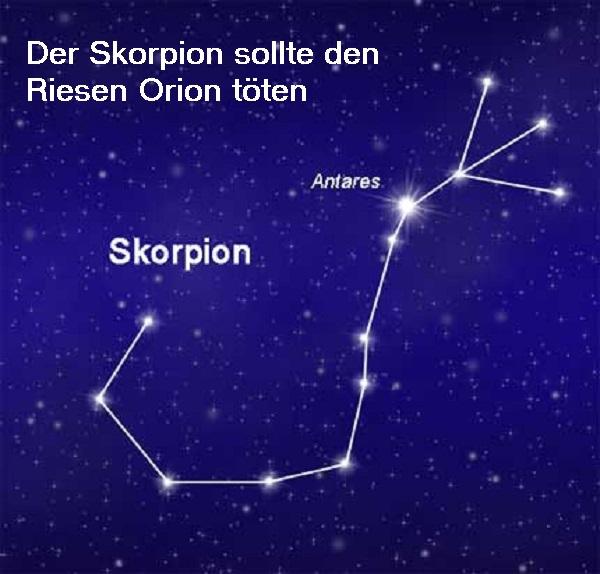 Merope, die Götter und die Sternbilder Skorpion und Orion am Himmelszelt Skorpi10