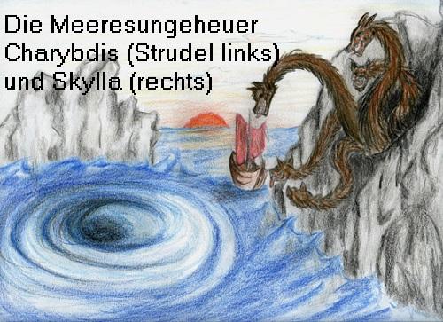 Skylla / Scylla (Mythologie): Meeresungeheuer in einer Meerenge zwischen Sizilien und Italien Skylla10