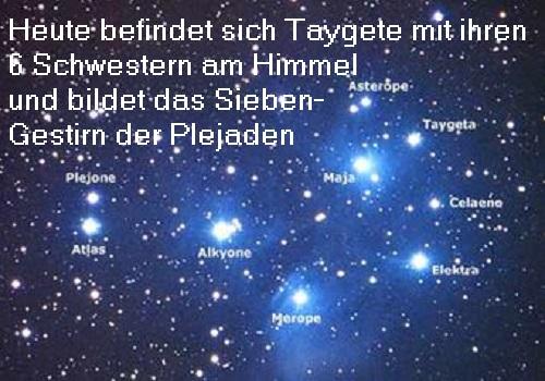 Taygete (Mythologie): Taygete ist eine Plejade, die sich heute mit ihren 6 Schwestern am Himmel befindet Tayget10