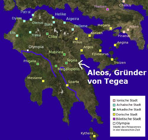 Aleos (Mythologie): Gründer von Tegea Tegea10