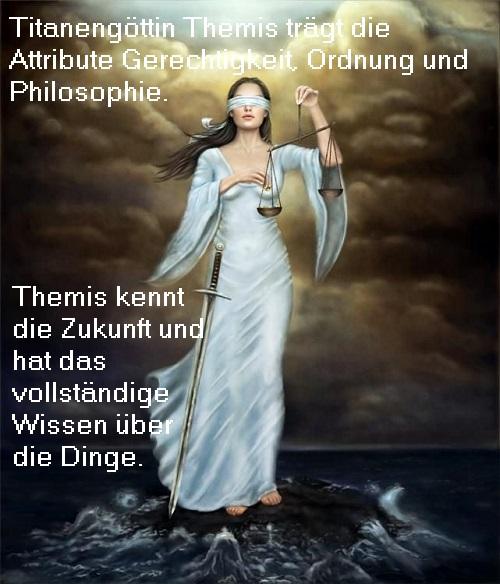 Themis: Titanin mit den Attributen Gerechtigkeit, Ordnung und Philosophie Themis10