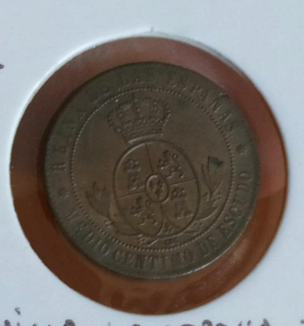1/2 céntimo de escudo 1868. Isabel II. Barcelona. Buena compra?  20200412