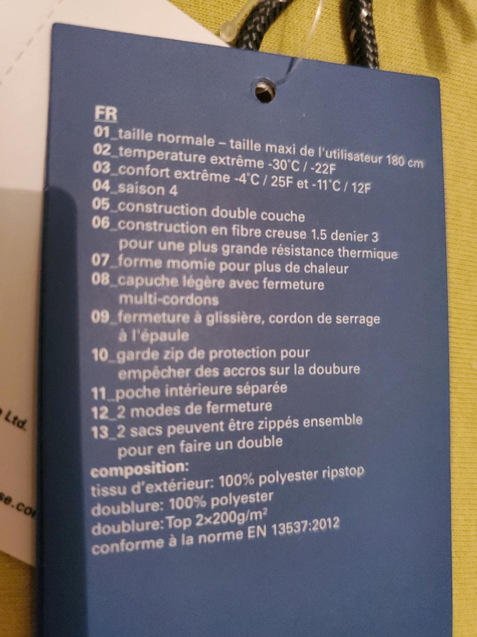 Retex sac de couchage Moutain Warehouse Microlite 1400 20200210