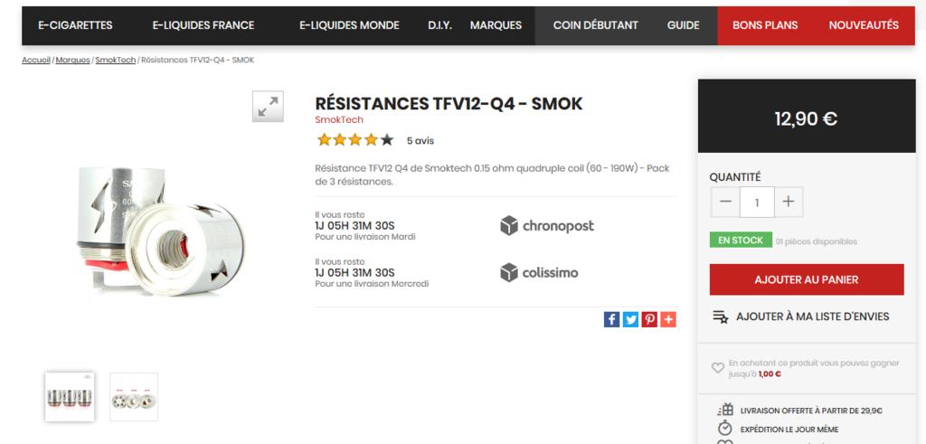 [Vends] Résistances neuves pour TFV12 SMOK Q410