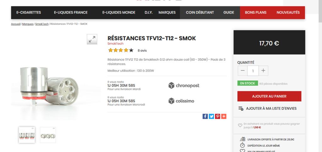 [Vends] Résistances neuves pour TFV12 SMOK T1210