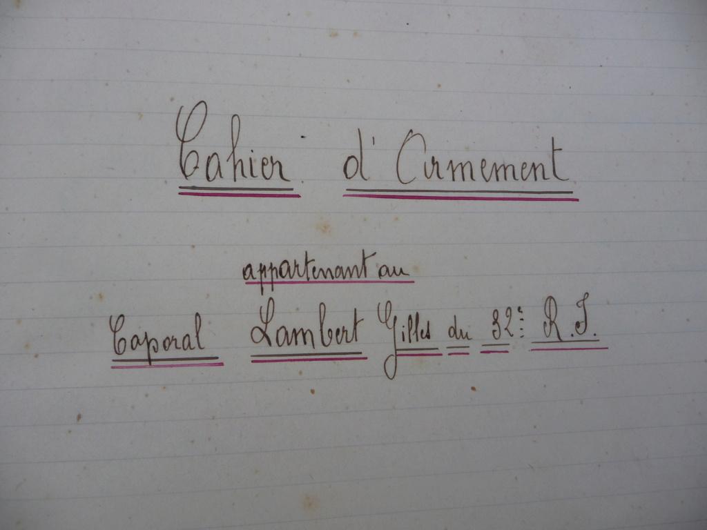 Cahier d'armement caporal Lambert du 32° RI!! P1240122