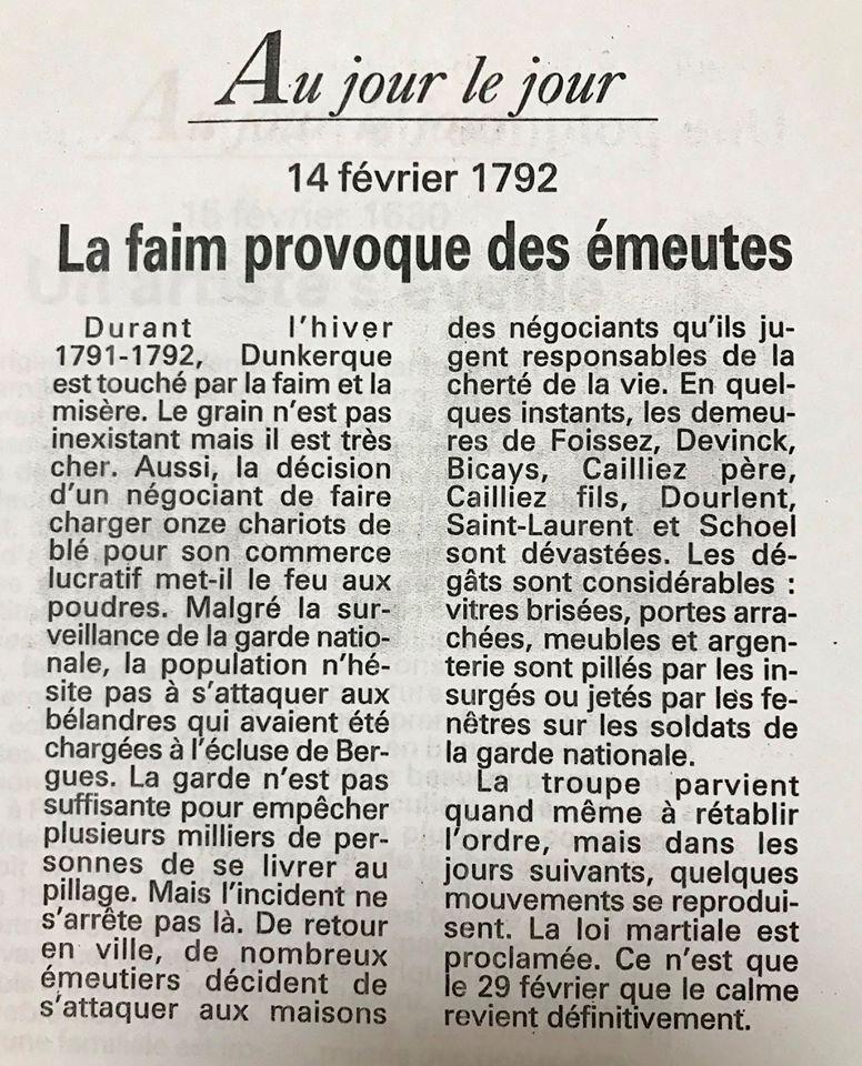 Anecdotes dunkerquoises datant du XVIIIème siècle 85063510