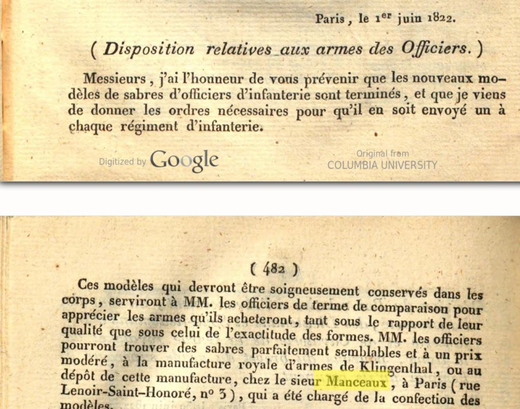 Sabres d'officier matriculés, au Modèle 1822 de ligne : point de situation Screen19