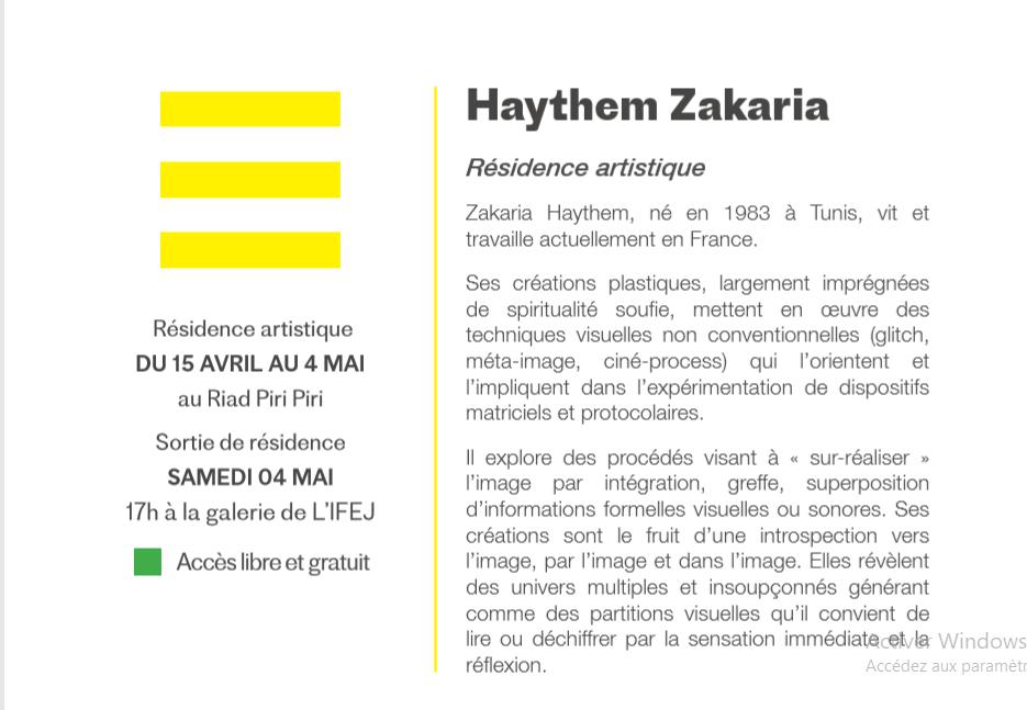 04/05 - Exposition :  Sortie de résidence  Haythem Zakaria  à l'Institut français  22 avenue de la Marche verte  19 heures 110