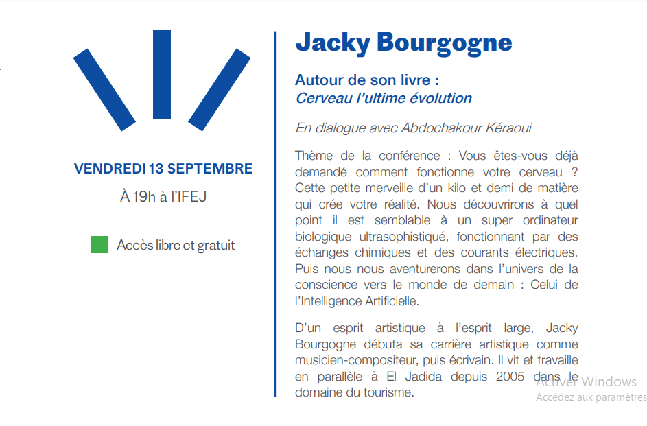 "13/09 - Conférence : Jacky Bourgogne ""Le cerveau, l'ultime évolution"" Institut français El Jadida 19 heures Bourgo10"