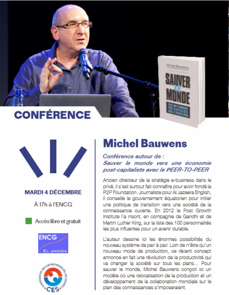 """04/12 - Conférence : Michel Bauwens """"Sauver le monde vers une économie post-capitaliste avec le PEER-TO-PEER""""  Confzo10"""