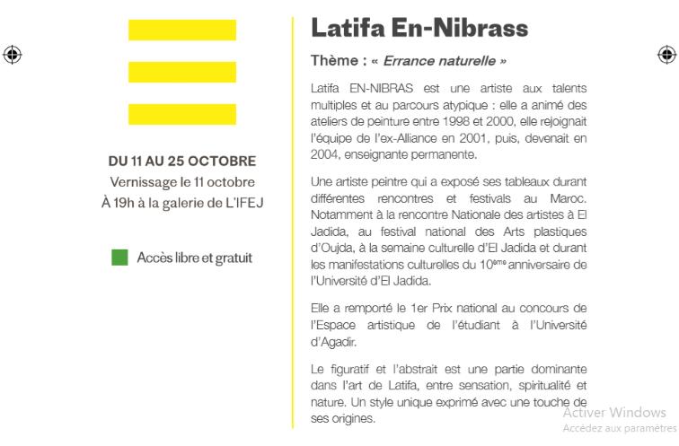 "11/10 au 25/10 - Exposition : Latifa En-Nibrass ""Errance naturelle"" Latifa13"