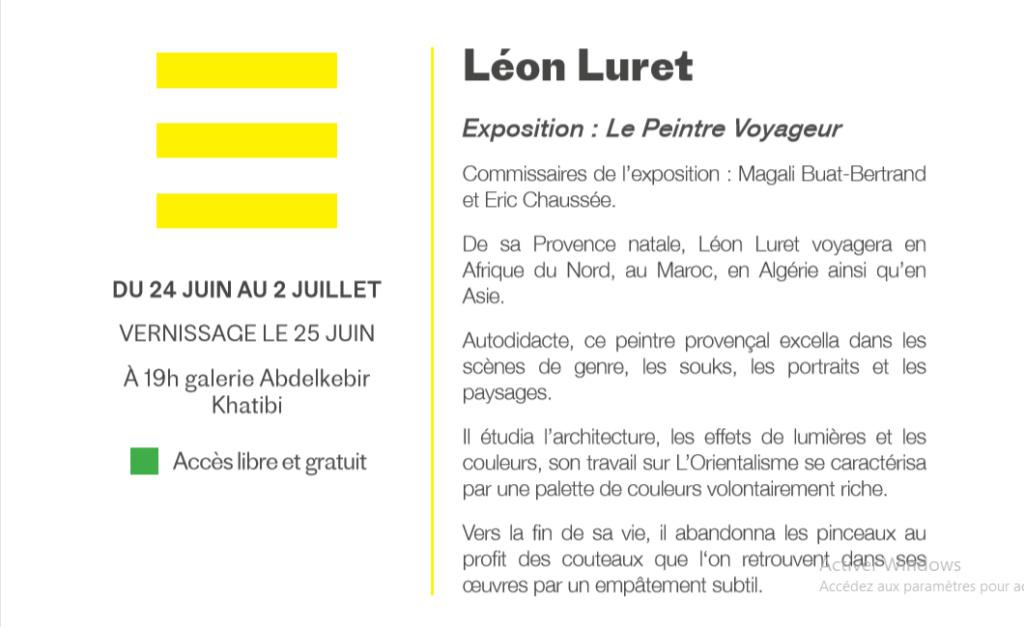 24/06 au 02/07 - Exposition :  Léon Luret, le peintre voyageur  galerie Abdelkader-Khatibi  vernissage : 25/07 à 19 heures Luret110