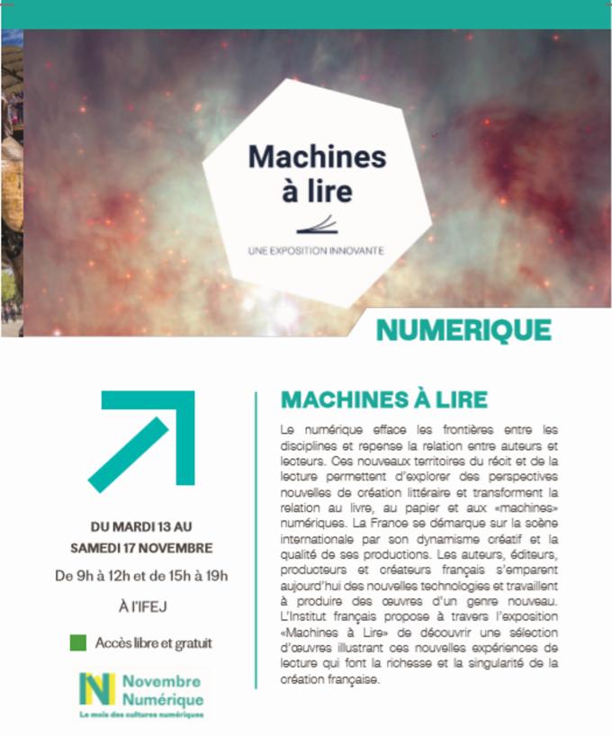 """13/11 au 17/11 - Numérique : """"Machines à lire"""" Machin10"""