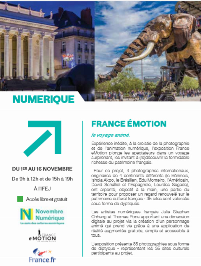 """01/11 au 16/11 - Numérique :  France émotion """"le voyage animé""""  Institut français d'El Jadida  visible de 09 h à 12 h & de 15 h à 19 h Numzor10"""