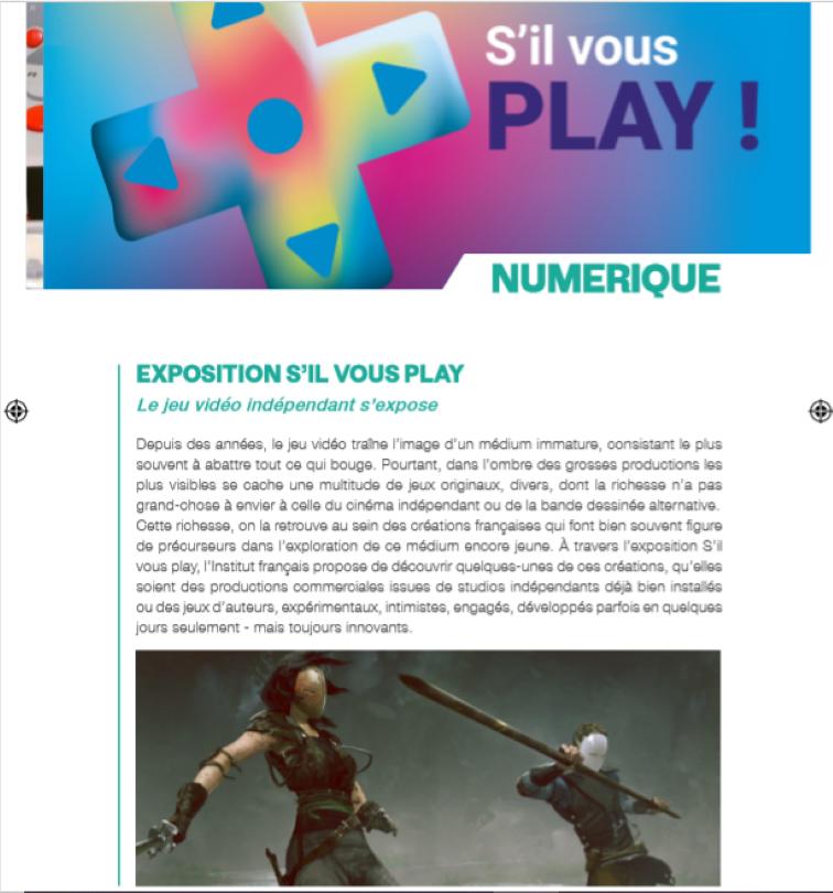 07/11 - Expositions : Novembre numérique Institut français 18 heures Numzor12