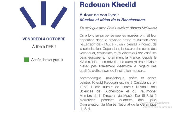 04/10 - Rencontre : Redouan Khedid pour son ouvrage Musées et idées de la Renaissance Redoua10