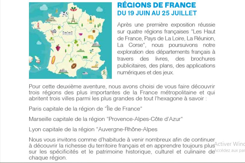 19/06 au 25/06 - Exposition :  Régions de France  Ile de France ; Provence Alpes Côte d'Azur ; Auvergne Rhône Alpes Rzogio12