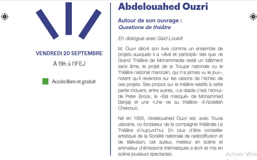 20/09 - Rencontre : Abdelouahed Ouzri  pour son ouvrage : Questions de théâtre Sans_107