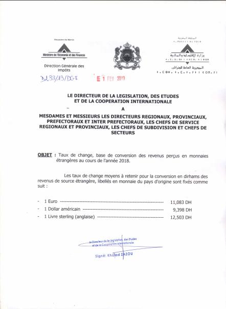 Impôts : taux de change 2018 Taux10