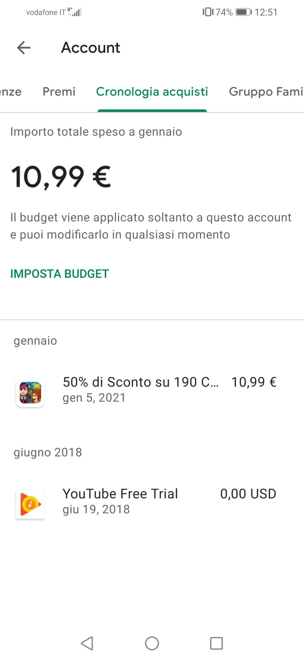 Problema acquisto Crediti da App Mobile Screen16