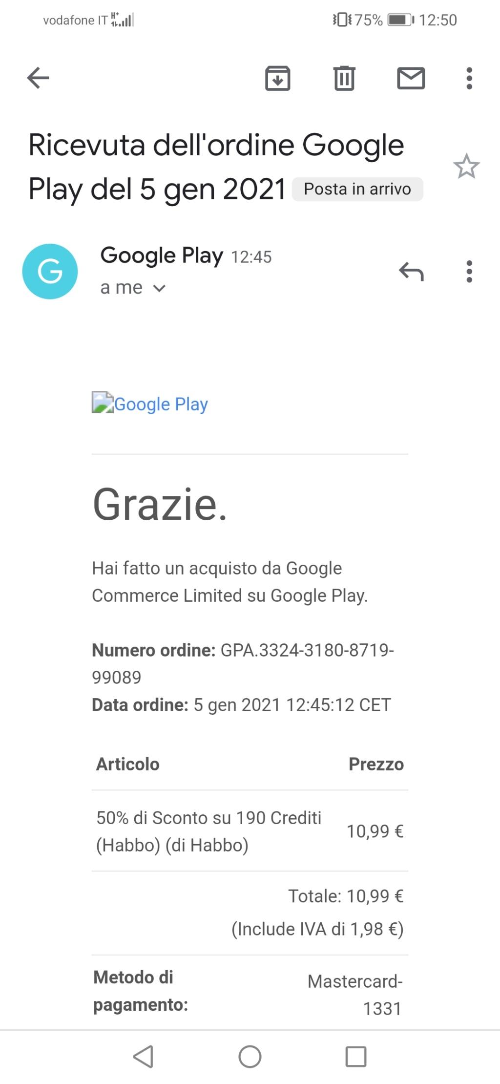 Problema acquisto Crediti da App Mobile Screen17