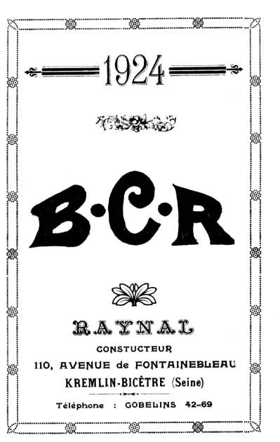 Histoire d'une marque d'avant-guerre - B.C.R. 1924-b11