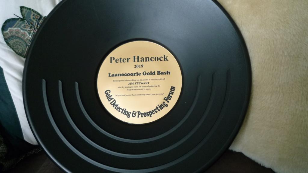 Award to Peter Hancock (Mariner 3800) Laanecoorie Gold Bash 2019 P1040210