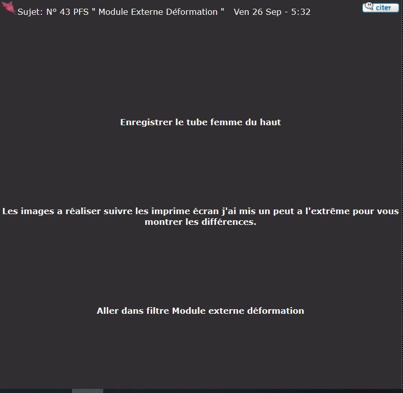 """N° 43 PFS """" Module Externe Déformation """" Captur10"""