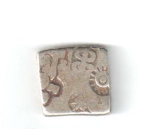 Karshapana Imperio Mauryan. Series Va sin marcas 'bold' en el reverso, G/H 507-508 Maurya10