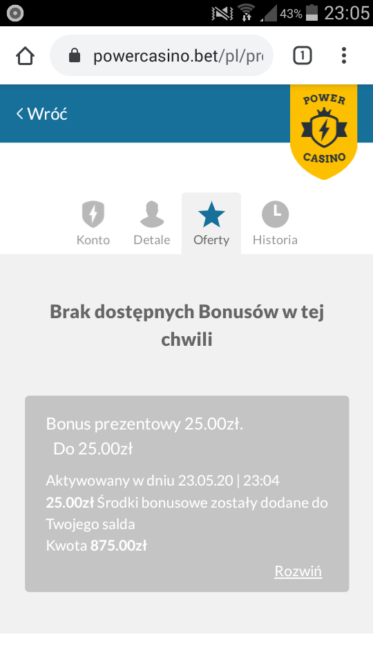 Power Casino Online 50 PLN / 10 EUR bez depozytu - Page 2 Screen10