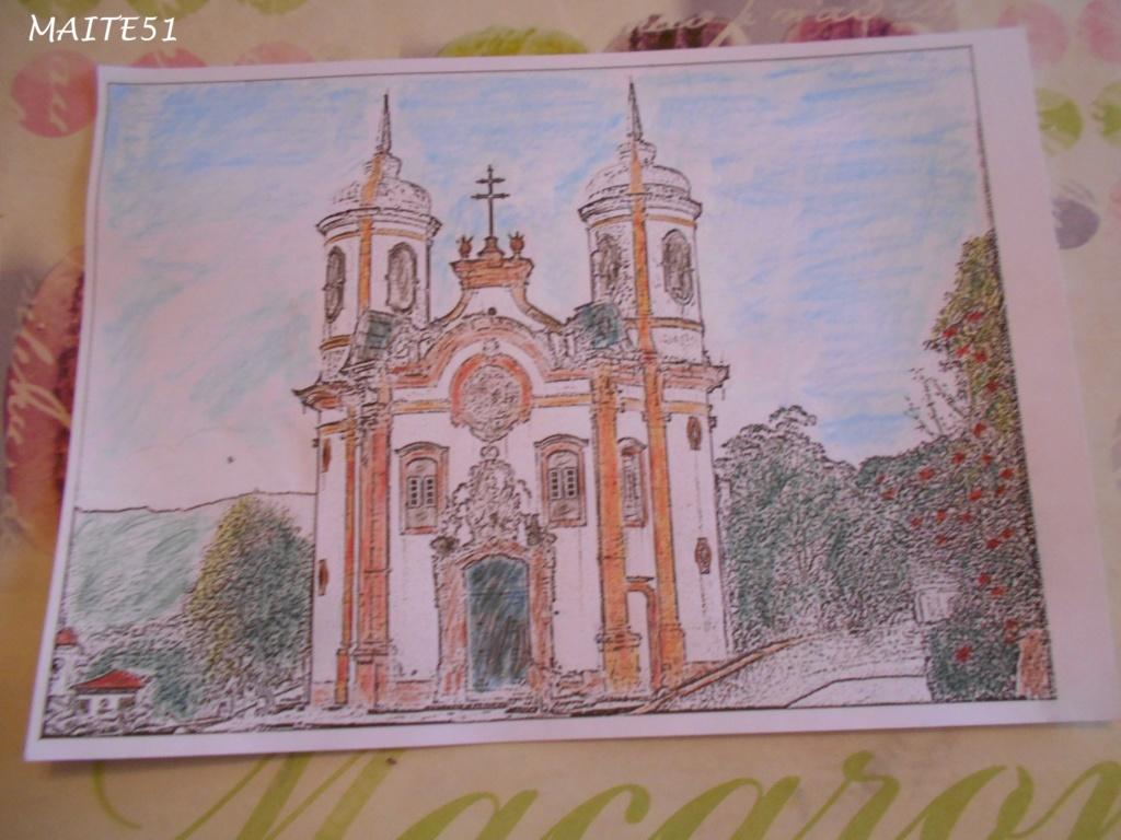 """Essai de dessin """"greysccale"""" et pastels secs... - Page 2 Eglise11"""