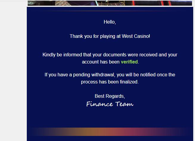 West Casino wypłaty i weryfikacja Wes10