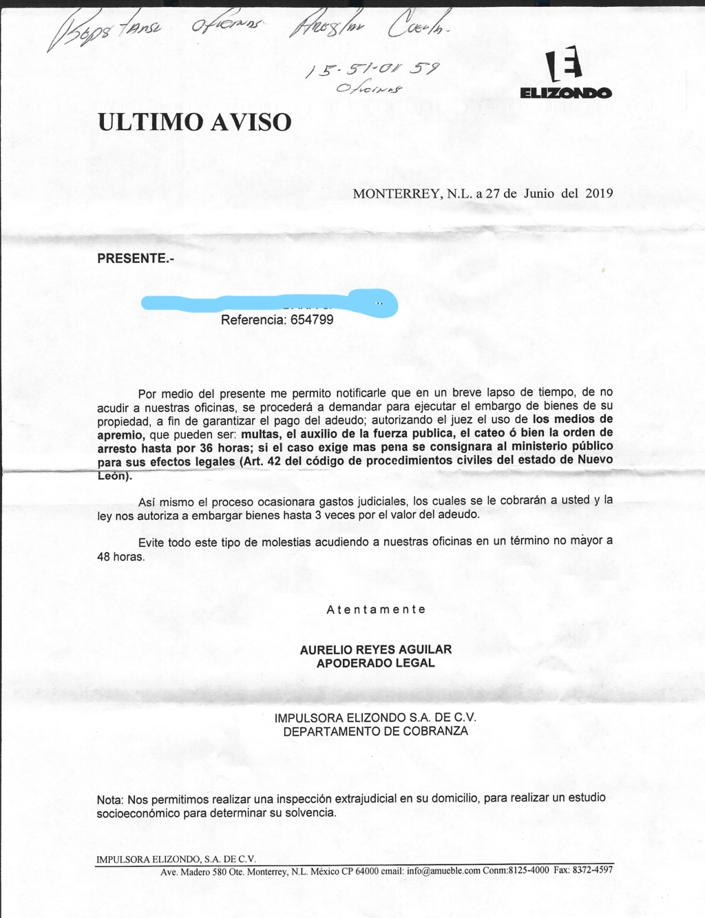 Deuda a Muebleria Elizondo Esczen12
