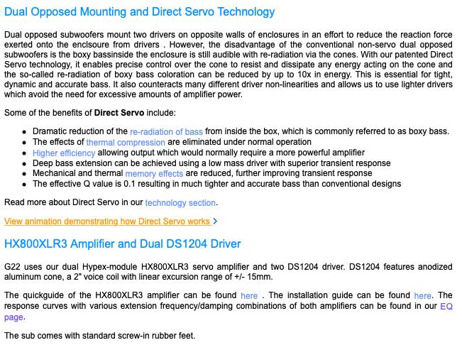 Rythmik G22 Dual opposed 12″ sealed audiophile Direct Servo subwoofer 1c946610