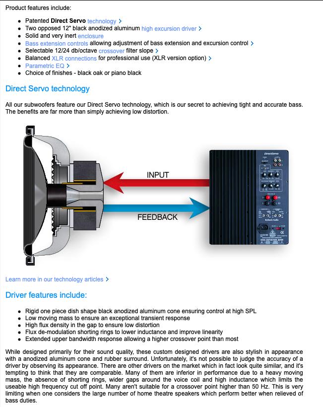 Rythmik G22 Dual opposed 12″ sealed audiophile Direct Servo subwoofer 3b6cb810