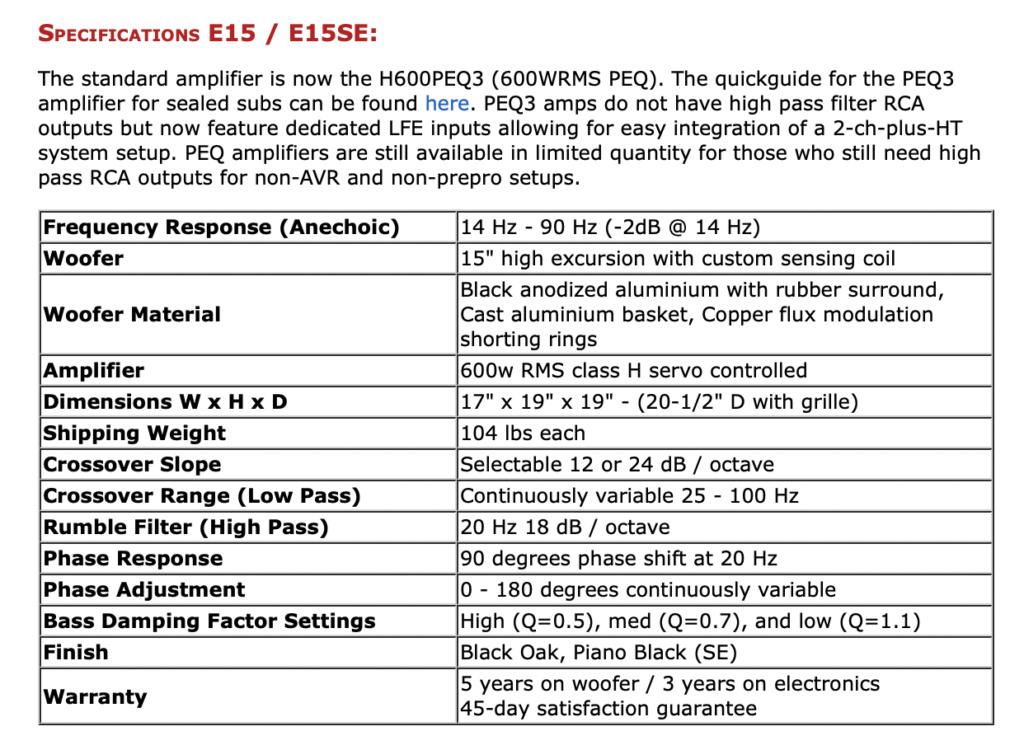 Rythmik E15HP SE Diect Servo 15″ Subwoofer Scree112