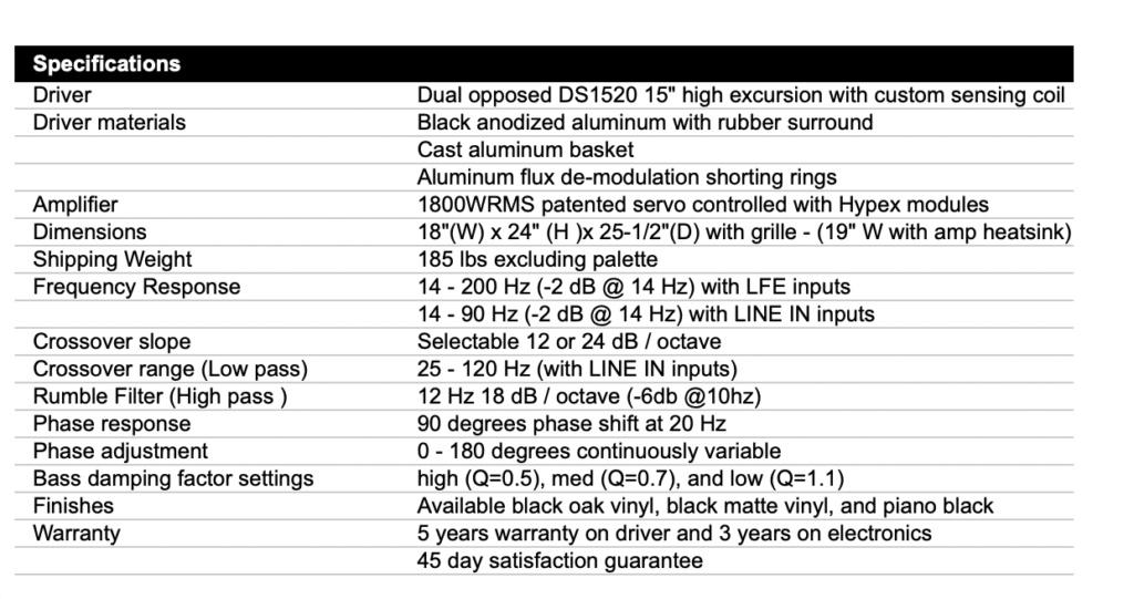 Rythmik G25HP Direct Servo Subwoofer Dual opposed 15″ Scree127