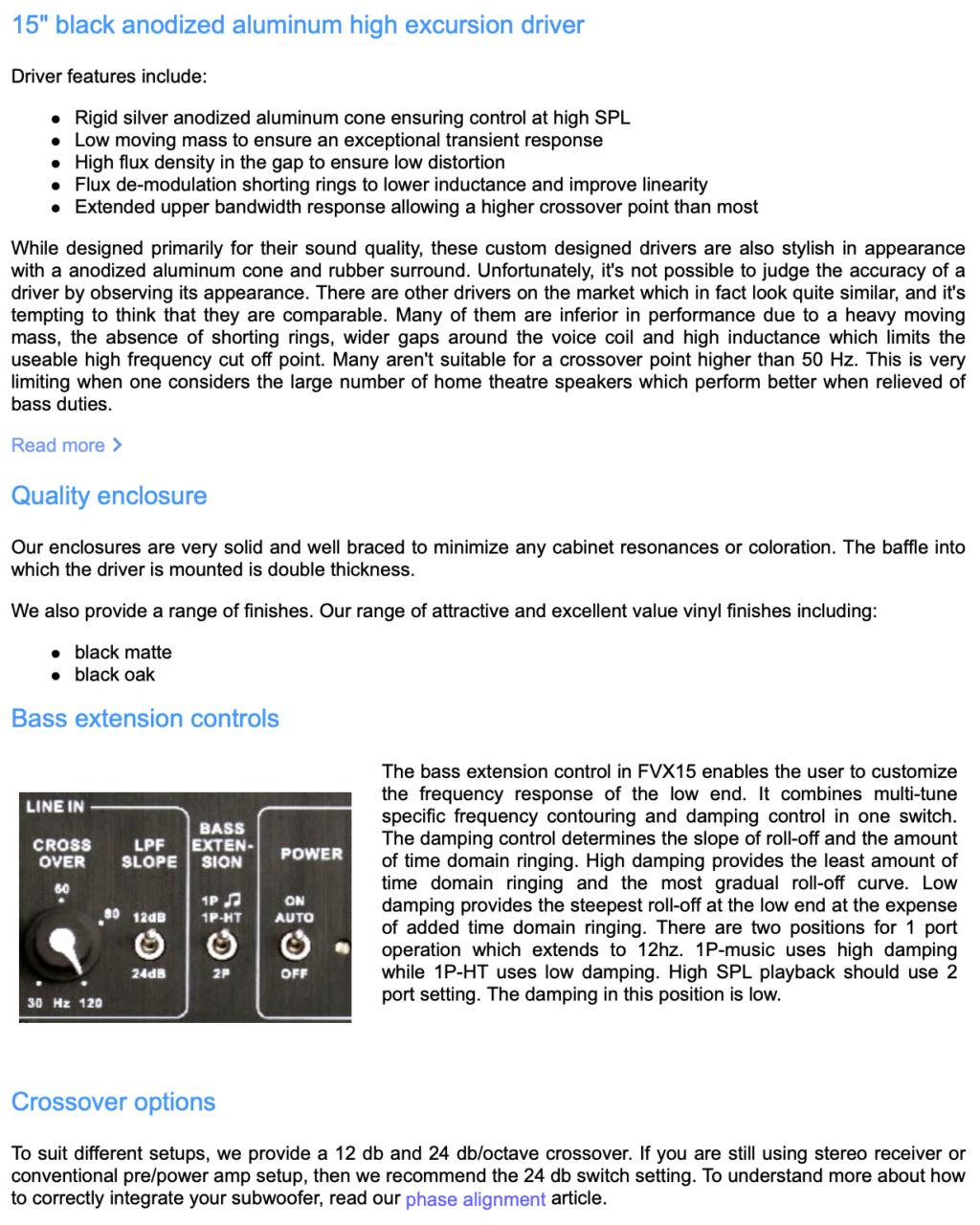 FVX15 Direct Servo Subwoofer 15″ ported audiophile sub Screen69