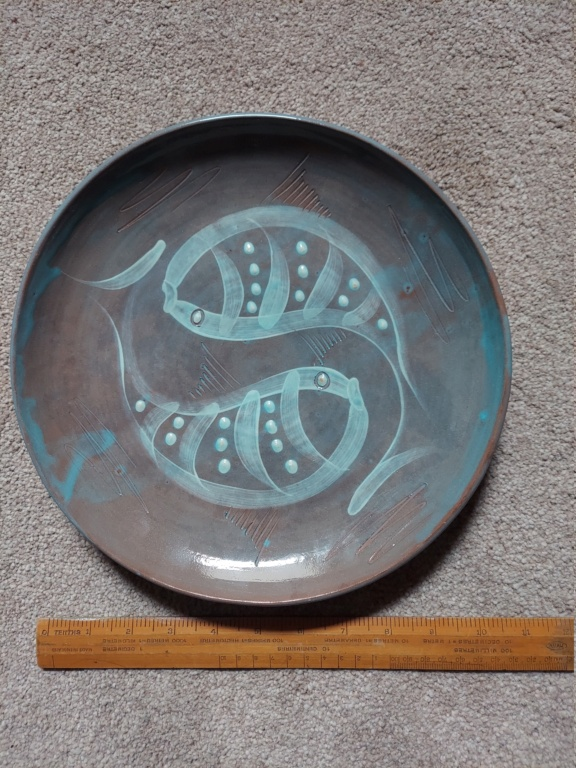 """plate diam 10 1/2"""" fish decoration in slip with turquoise glaze 20210614"""