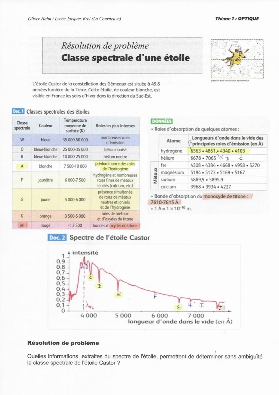 Corrigé RP : Classe spectrale d'une étoile 00581310